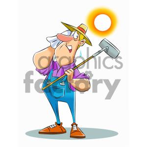 clipart - cartoon farmer wanting rain royalty free vector art.