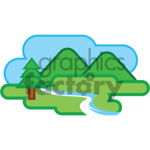 mountain stream nature icon clipart. Commercial use image # 405741