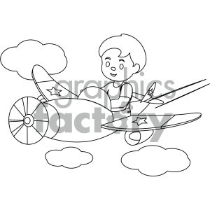 black and white coloring page boy flying an airplane vector illustration