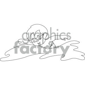 black and white coloring page boy swimming vector illustration clipart. Commercial use image # 405985