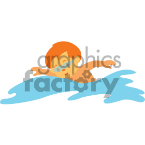 boy swimming vector illustration clipart. Commercial use image # 406010