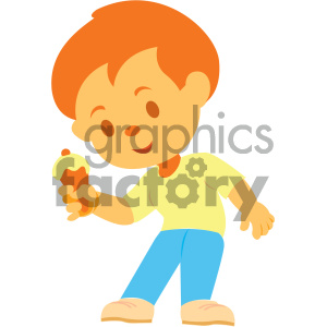 boy eating ice cream vector illustration clipart. Commercial use image # 406014