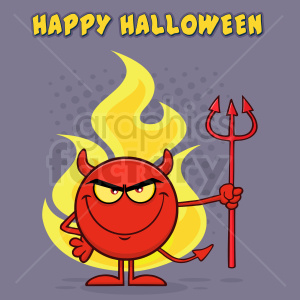 Red Devil Cartoon Emoji Character Holding A Pitchfork Over Flames Vector Illustration With Halftone Background And Text