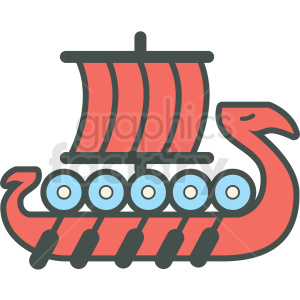 viking boat vector icon