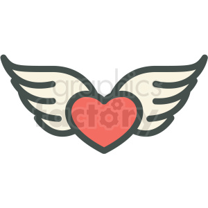 heart and wings vector icon image clipart. Commercial use image # 406574
