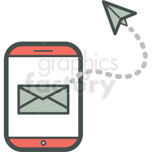 email sent smart device vector icon