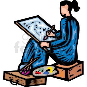 An Artist sitting on a Box Painting a Picture with a Paint Brush clipart. Royalty-free image # 156323