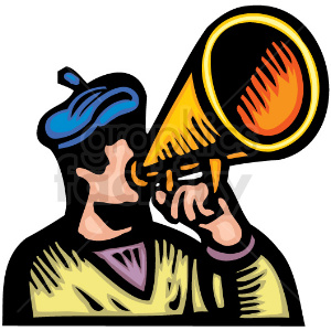 Man speaking into a loudspeaker clipart. Royalty-free image # 156337