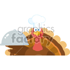 Turkey Chef Cartoon Mascot Character Holding A Cloche Platter Vector Illustration Flat Design Isolated On no Background_1 clipart. Commercial use image # 406972