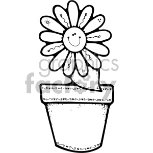 black and white flower pot daisy clipart. Commercial use image # 406982