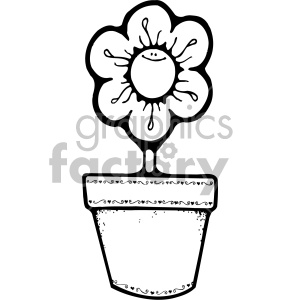 black and white daisy flower pot clipart. Commercial use image # 406992
