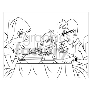 cartoon child kid boy dinner family food eating black+white coloring+page