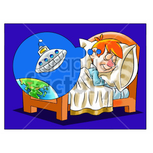 cartoon child kid boy sleeping dreaming dream sleep ufo