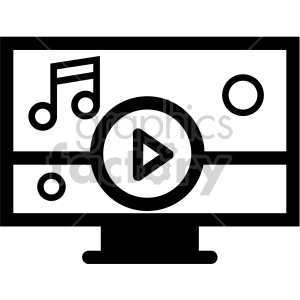 black+white technology icons music player computer download