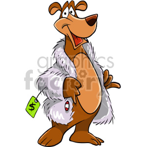 cartoon bear wearing fur coat clipart. Royalty-free image # 407121