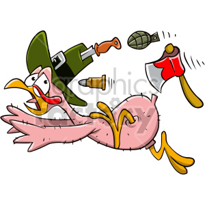 thanksgiving turkey cartoon character bald naked running scared dinner weapons axe pilgrim bird