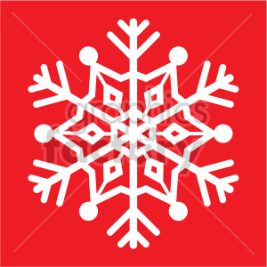 snowflake on red square vector rf clip art clipart. Commercial use image # 407196