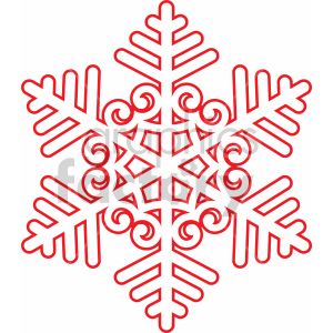 winter snowflake outline with spirals vector cut file