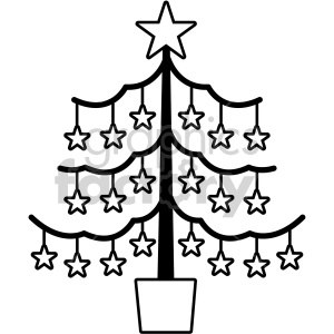 black and white christmas tree vector icon