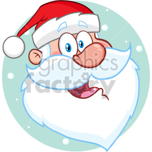 Happy Santa Claus Face Classic Cartoon Mascot Character Vector Illustration Isolated On White Background_1 clipart. Commercial use image # 407255