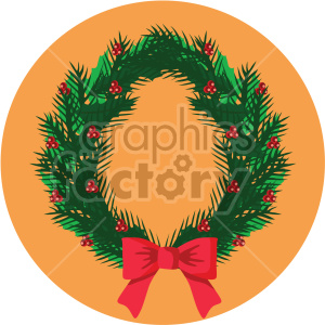 christmas wreath on orange circle background icon clipart. Commercial use image # 407299