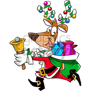 cartoon reindeer dressed like santa running with bag of gifts