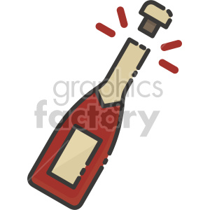 champagne bottle cork popped clipart. Commercial use image # 407424
