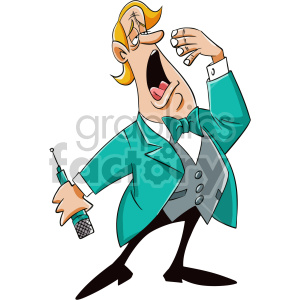 tired singer cartoon character clipart. Commercial use image # 407536