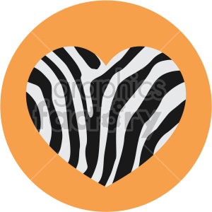 heart with zebra skin orange background clipart. Commercial use image # 407615