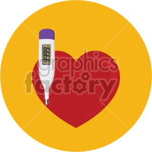 heart with thermometer yellow background clipart. Commercial use image # 407627