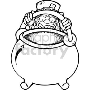 leprechaun with pot of gold 002 bw clipart. Royalty-free image # 407718