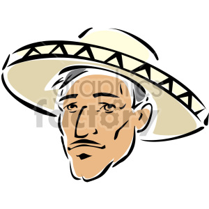 Mexican man's face clipart. Commercial use image # 157293