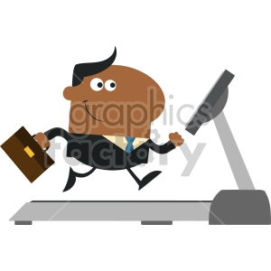businessman cartoon character with briefcase running on a treadmill modern flat design vector illustration isolated on white clipart. Royalty-free image # 399670