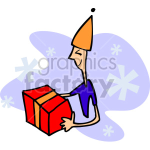 kid opening birthday gift clipart. Royalty-free image # 155217