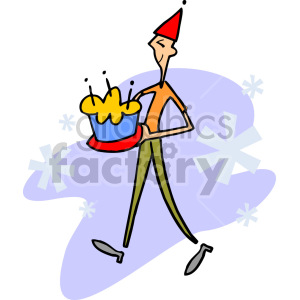 guy carrying a birthday cake clipart. Commercial use image # 155259