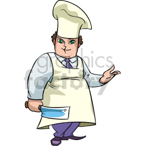 a chef with a butcher knife clipart. Commercial use image # 155307