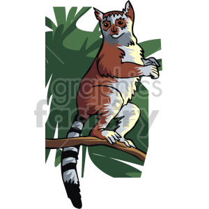 lemur standing on a branch clipart. Royalty-free image # 129344
