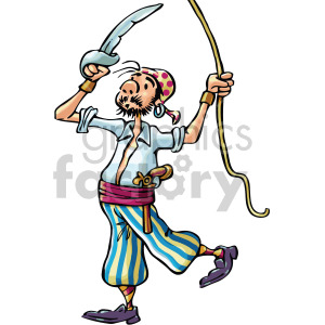 pirate holding a rope clipart. Commercial use image # 407812