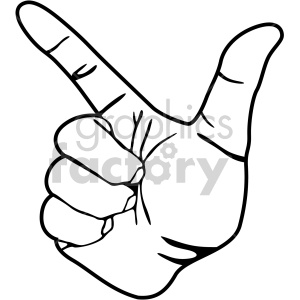hand sign l black white clipart. Royalty-free image # 408097