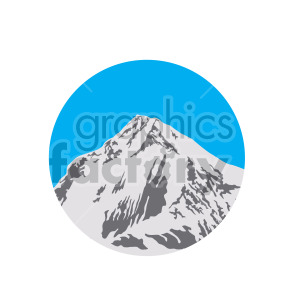 blue sky mountains scene circle design