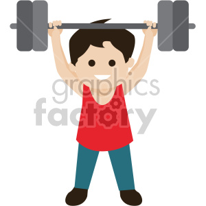 boy lifting weights clipart. Royalty-free image # 408397