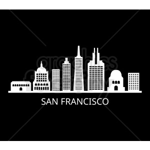 san francisco city skyline vector on black clipart. Commercial use image # 408536