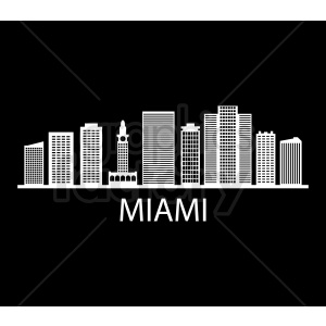 miami city skyline vector on black clipart. Royalty-free image # 408546