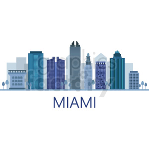 miami city skyline vector with label clipart. Royalty-free image # 408629