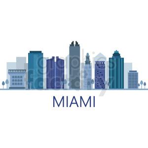 miami city skyline vector with label