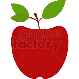 red cartoon apple with two leaves clipart. Royalty-free image # 408894