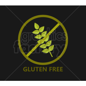 gluten free vector symbol on black background clipart  Royalty-free clipart  # 408911