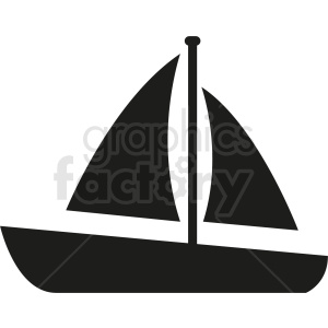 black sail boat vector icon design no background clipart. Royalty-free image # 408976