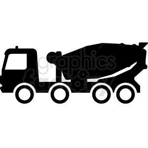 black white cement truck vector clipart. Royalty-free image # 409137