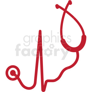stethoscope with hearbeat svg cut file clipart. Commercial use image # 409233